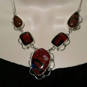 Garnet Jasper Dichroic Glass Handmade Necklace